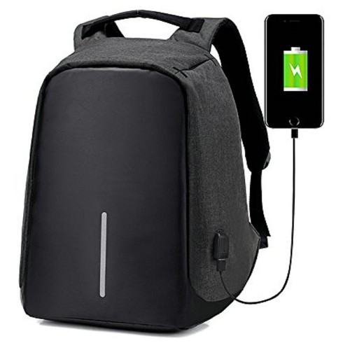 15 inch USB Charging Anti Theft Travel Backpack Black