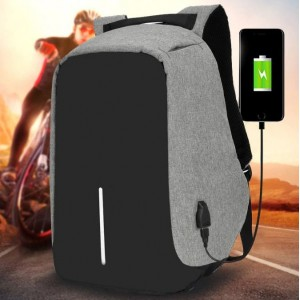 15 inch USB Charging Anti Theft Travel Backpack Gray
