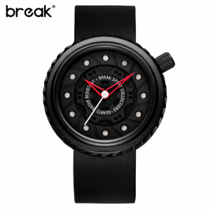 BREAK Creative Geek Waterproof Rubber Strap Sports Watch Black