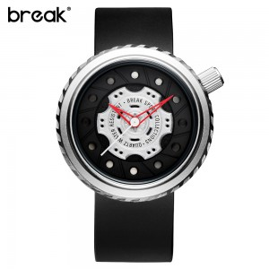 BREAK Creative Geek Waterproof Rubber Strap Sports Watch Silver