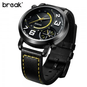Break Dual Time Zone Leather Band Waterproof Watch Yellow