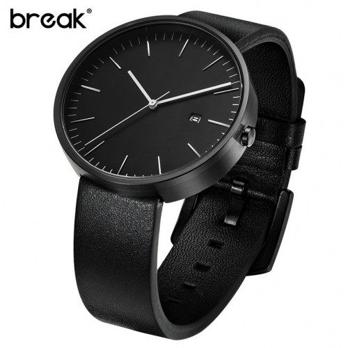 Break Waterproof Genuine Leather Strap Minimalist Black