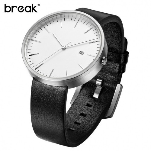 Break Waterproof Genuine Leather Strap Minimalist White