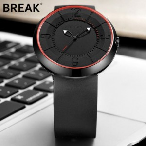Original Break  B101 Series Rubber Strap Watch Black-Red