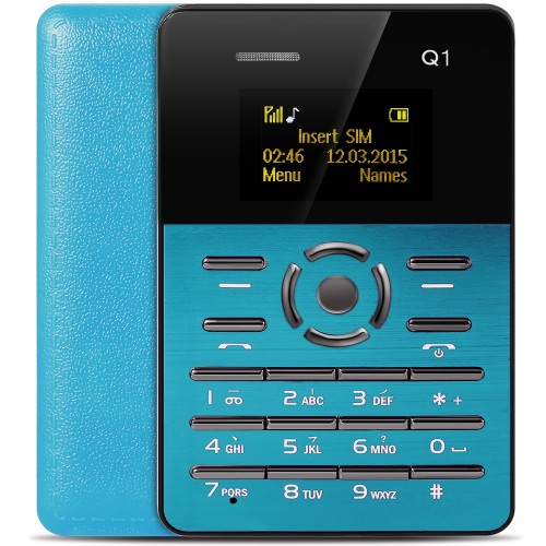 Ultra Thin Card Mobile Phone Aiek Q1 Blue