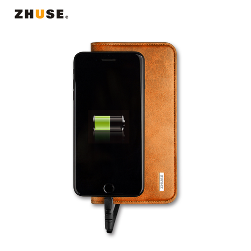 ZHUSE Leather Wallet With 7000mAh Powerbank Brown